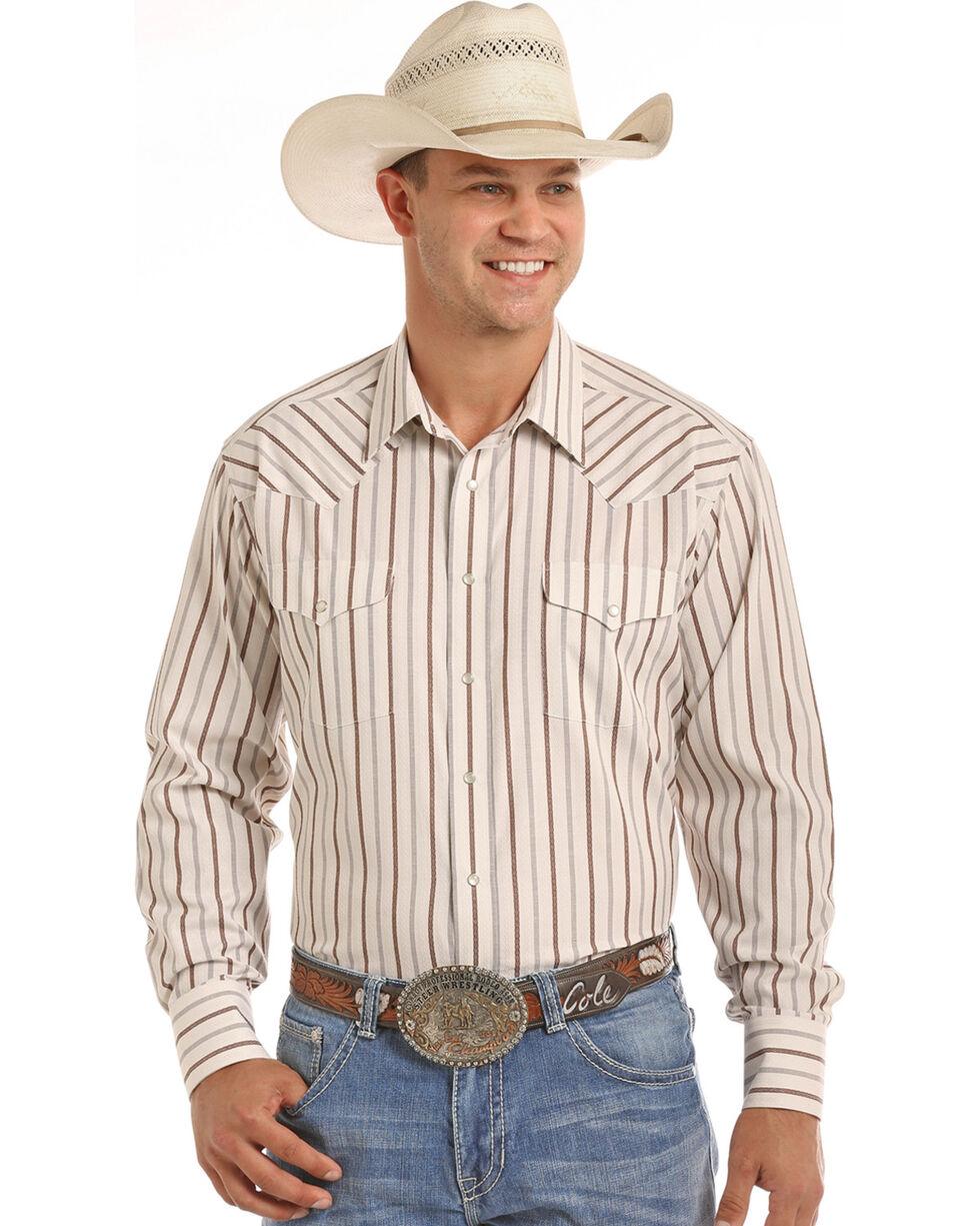 Panhandle Men's Tan Dobby Stripe Print Shirt , Tan, hi-res