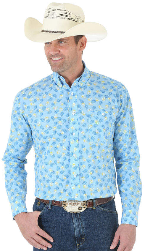 Wrangler George Strait One Pocket Paisley Poplin Shirt, Blue, hi-res