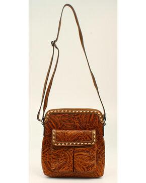 Blazin Roxx Floral Tooled Crossbody Bag, Tan, hi-res