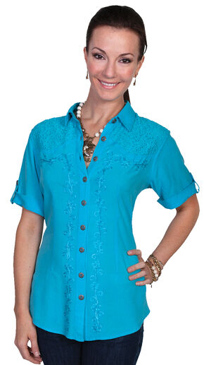 Scully Women's Short Sleeve Lace Blouse, Turquoise, hi-res