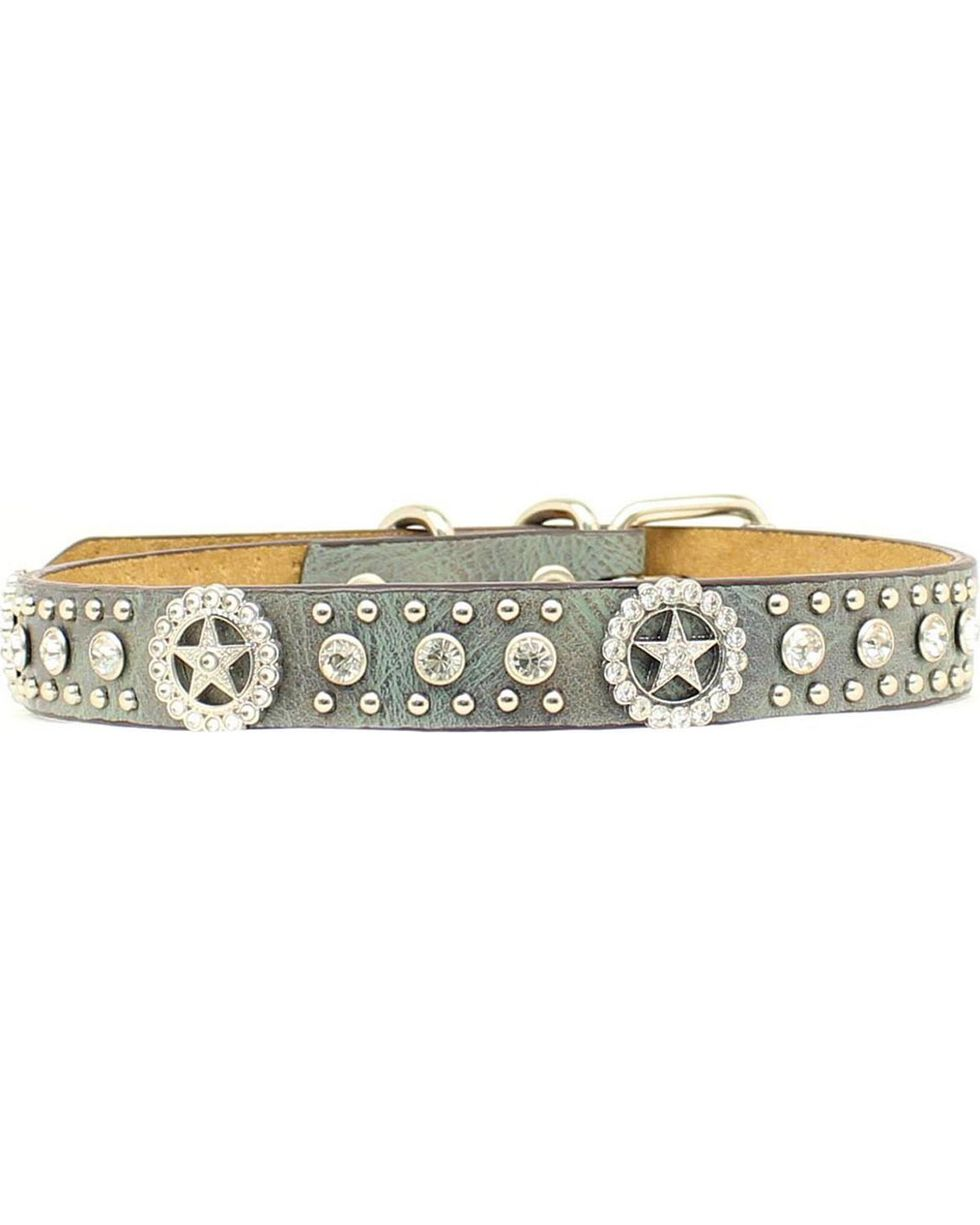 Blazin Roxx Rhinestone Star Concho Dog Collar - S-XL, Blue, hi-res