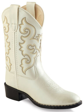 Old West Girls' Ivory Western Boots - Round Toe , White, hi-res