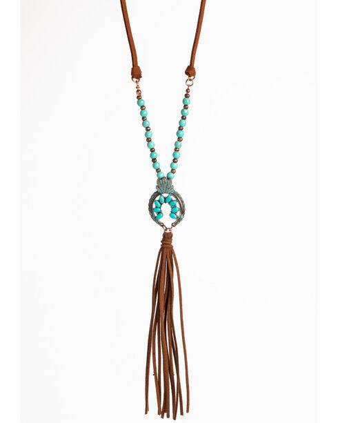 Shyanne Women's La Rosita Crescent Suede Tassel Necklace , Turquoise, hi-res