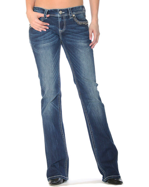 Grace in LA Women's Indigo Medallion Embellished Jeans - Boot Cut , Indigo, hi-res