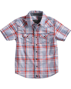 Cody James Toddler Boys' Plaid Short Sleeve Shirt, Red, hi-res