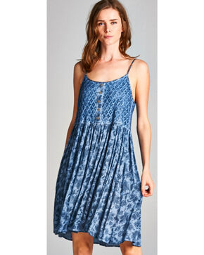 Hyku Women's Indigo Sleeveless Print Dress, Indigo, hi-res