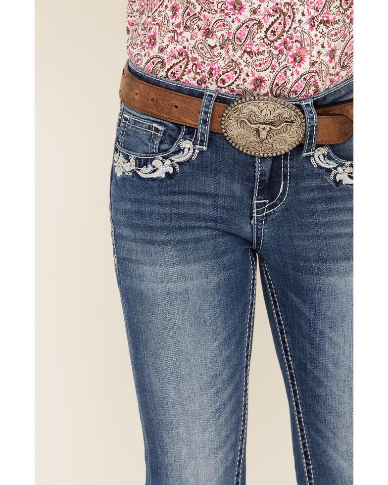 Grace in LA Girls' Floral Swirl Bootcut Jeans, Blue, hi-res