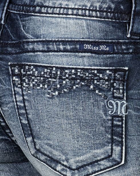 Miss Me Women's Raw Cuff Embroidered Side Skinny Jeans , Blue, hi-res
