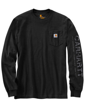 Carhartt Men's Workwear Logo Graphic Long Sleeve T-Shirt , Black, hi-res