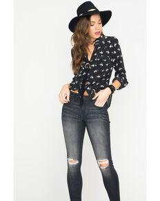 Ryan Michael Women's Silk Bucking Horse Print Shirt, Black, hi-res