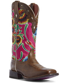 Ariat Women's Circuit Champion Western Boots - Wide Square Toe, Brown, hi-res