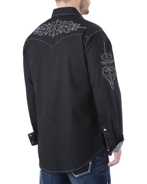 Rock 47 by Wrangler Men's Scroll Embroidered Long Sleeve Shirt, Black, hi-res