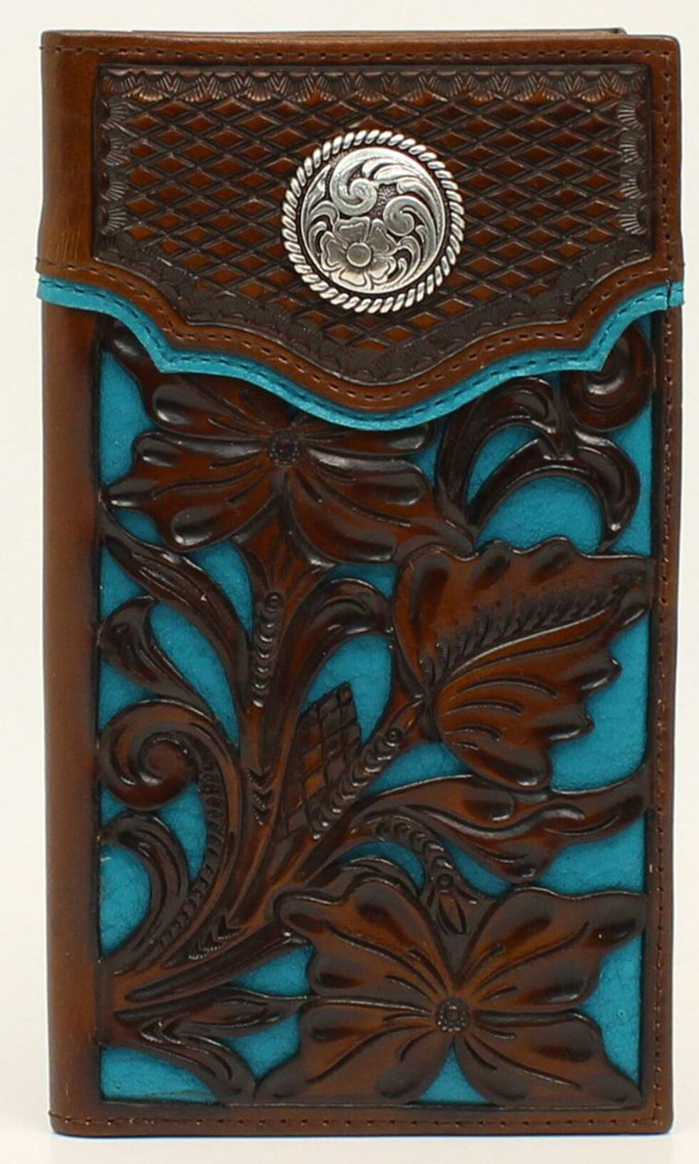 Nocona Colorful Floral Overlay Rodeo Wallet, , hi-res