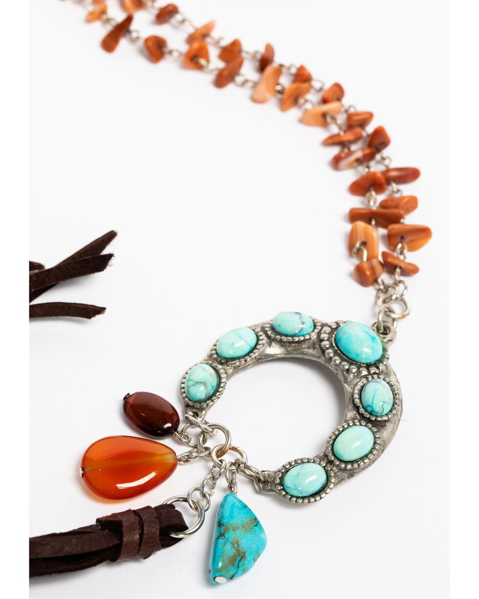 Cowgirl Confetti Women's Turquoise Sunset Valley Beaded Necklace , Turquoise, hi-res