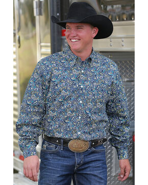 Cinch Men's Blue Paisley Print Long Sleeve Shirt, Multi, hi-res