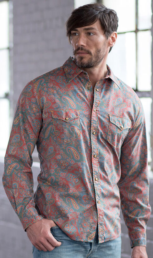 Ryan Michael Men's Spice Vintage Paisley Print Western Shirt , Spice, hi-res