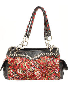 Blazin Ro Quilted Paisley Satchel Bag Red Hi Res