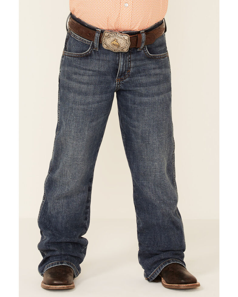 Wrangler Retro Boys' Mustang Island Dark Stretch Relaxed Bootcut Jeans , Blue, hi-res