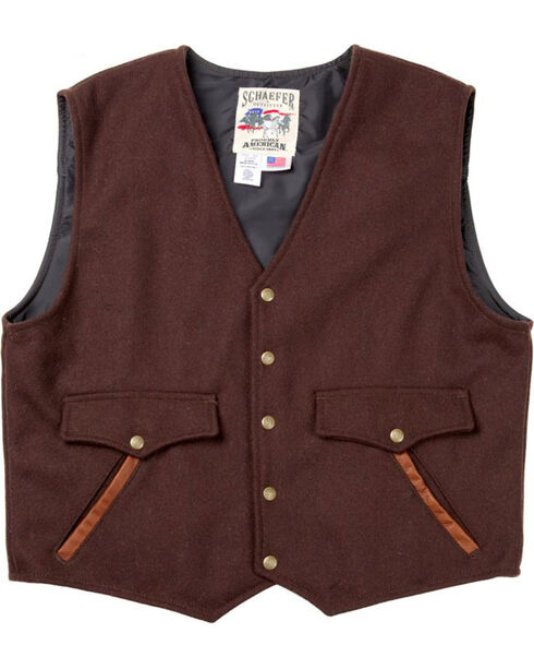Schaefer Outfitter Men's Chocolate Stockman Melton Wool Vest - XLT, Chocolate, hi-res