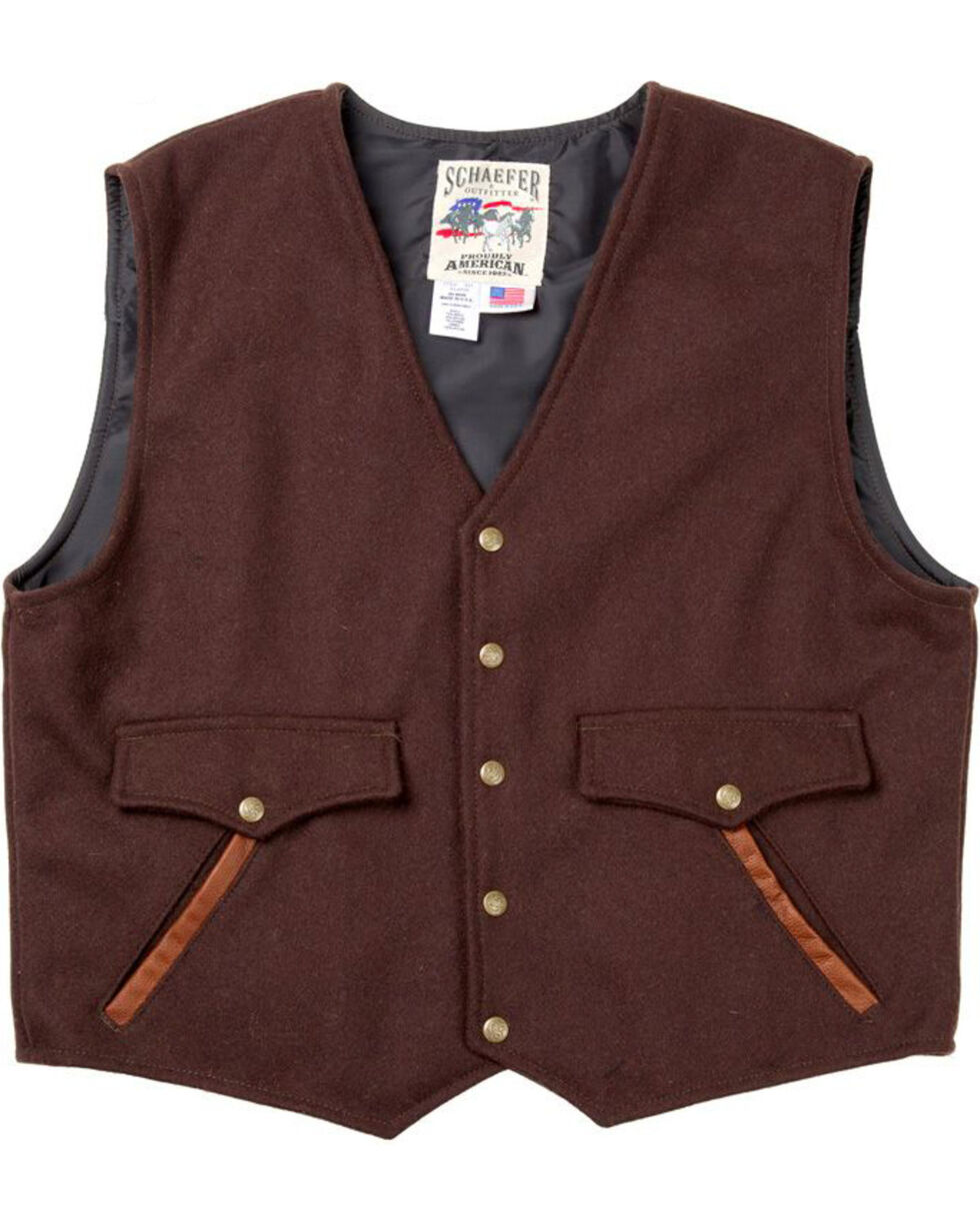 Schaefer Outfitter Men's Chocolate Stockman Melton Wool Vest - XLT, Chocolate, hi-res