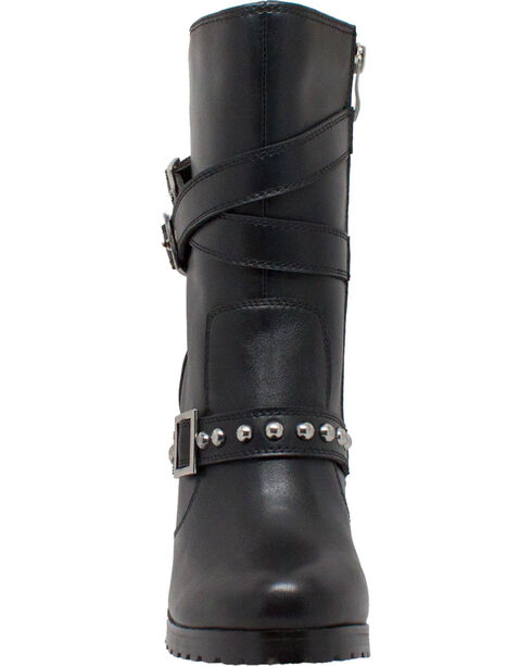 "Ad Tec Women's 10"" Leather Three Buckle Biker Boots - Round Toe, Black, hi-res"