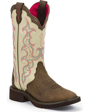 Justin Gypsy Girls' Raya White Cowgirl Boots - Square Toe, Brown, hi-res