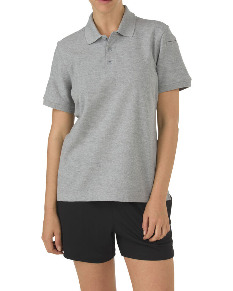 5.11 Tactical Women's Utility Short Sleeve Polo, Hthr Grey, hi-res