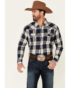 Cody James Men's Sawmill Buffalo Check Plaid Long Sleeve Snap Western Flannel Shirt , Navy, hi-res
