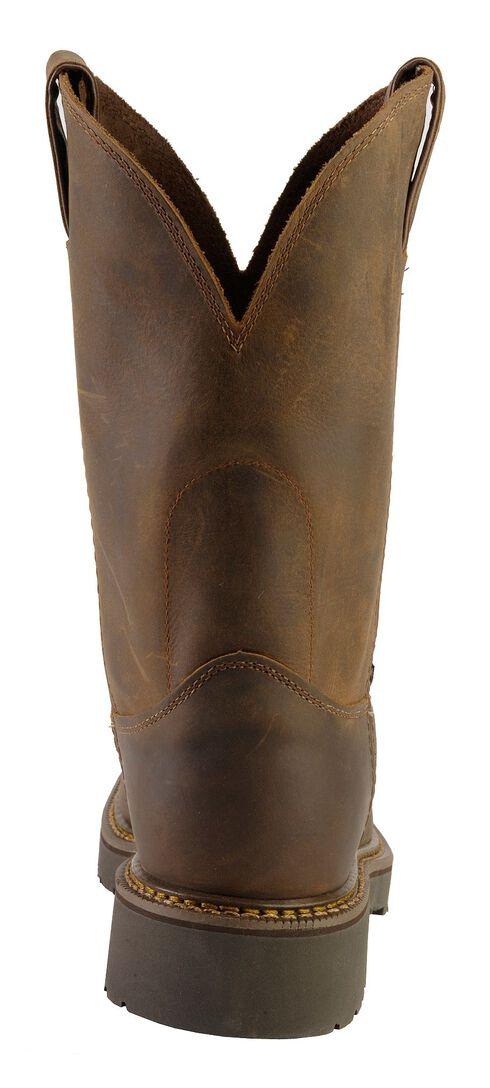 Justin Rugged Bay Gaucho J-Max Pull-On Work Boots - Round Toe, Chocolate, hi-res