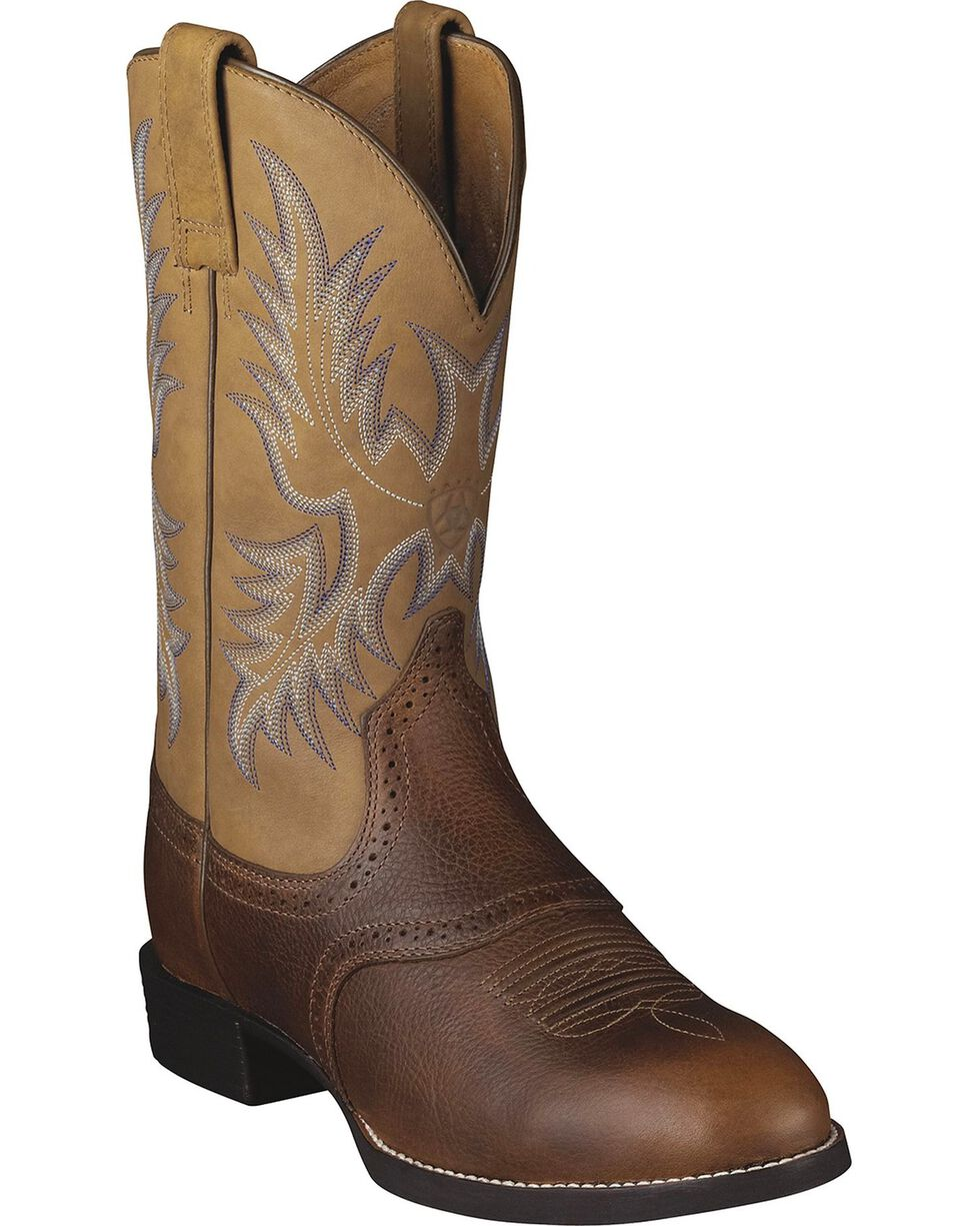 Ariat Barrel Brown Stockman Cowboy Boots - Round Toe, Barrel Brn, hi-res