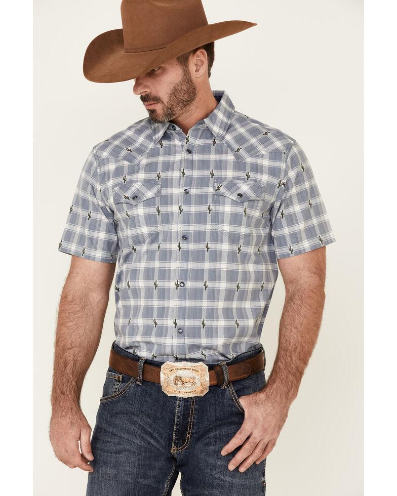 Moonshine Spirit Men's Cacti Med Plaid Short Sleeve Snap Western Shirt , Navy, hi-res