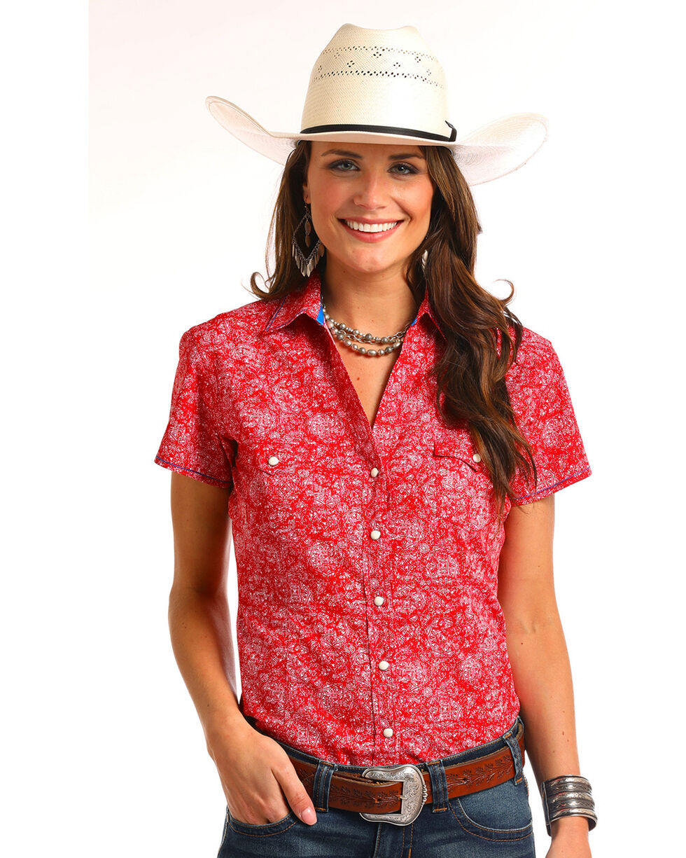 Rough Stock by Panhandle Women's Sherbrooke Vintage Print Snap Shirt, Red, hi-res