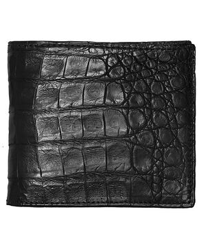 Lucchese Men's Black Crocodile Hipster Wallet, Black, hi-res