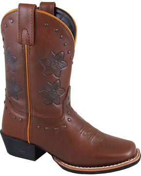 Smoky Mountain Girls' Lilac Western Boots - Square Toe , Brown, hi-res
