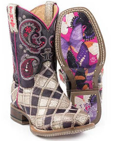 Tin Haul Toddler Girls' Sparkle Girl Western Boots - Square Toe, Purple, hi-res