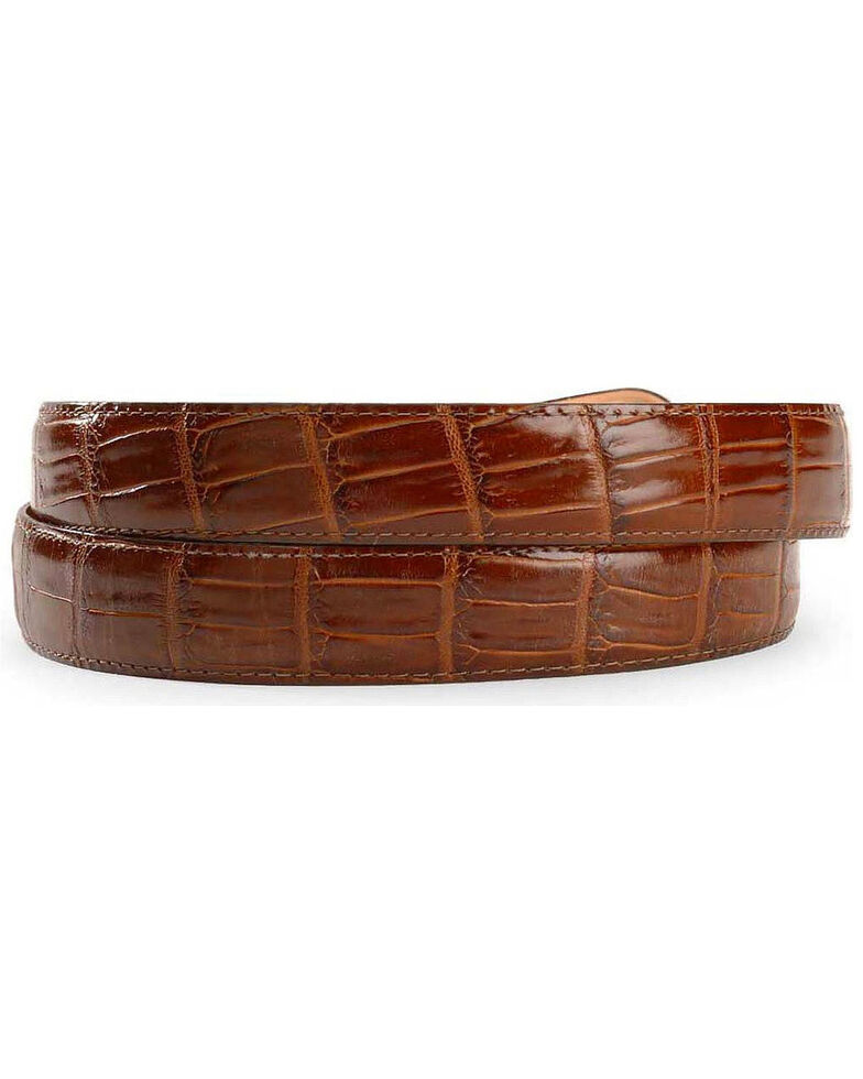 Leegin Men's Crocodile Print Leather Belt, Brown, hi-res
