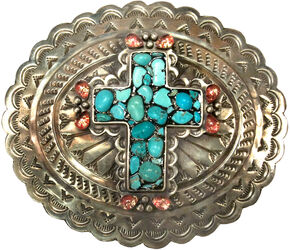 Corral Women's Turquoise Cross Engraved Belt Buckle , Turquoise, hi-res