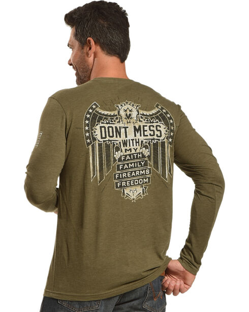 Buck Wear Men's Don't Mess Long Sleeve T-Shirt, Forest Green, hi-res