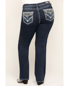 Grace in LA Women's Dark Jewel Pocket Straight Jeans - Plus , Blue, hi-res