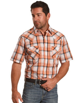Ely Cattleman Men's Orange Short Sleeve Plaid Shirt , Blue, hi-res