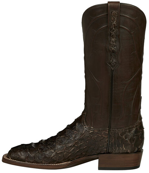 Lucchese Brown Perry Giant Python Cowboy Boots - Square Toe , Dark Brown, hi-res
