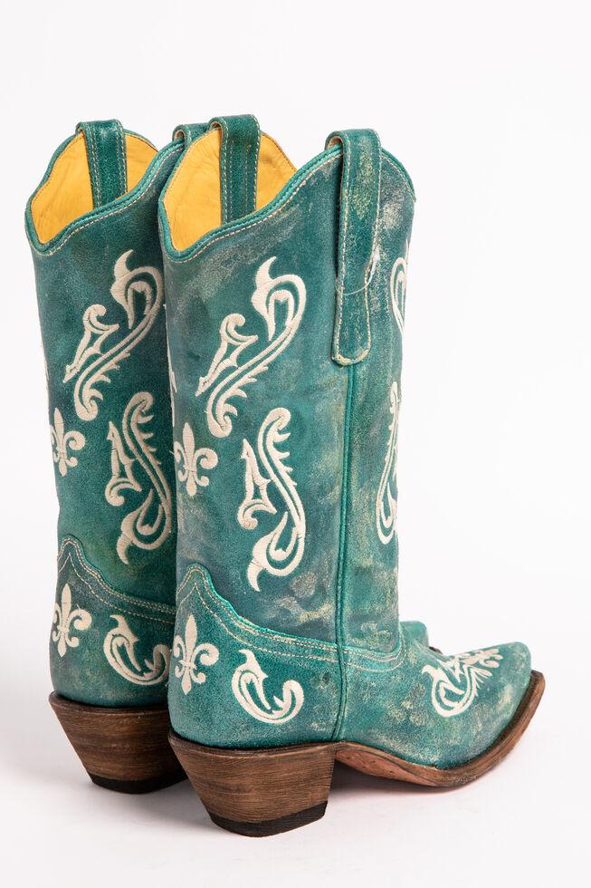 Corral Cortez Fleur-De-Lis Turquoise Cowgirl Boots - Snip Toe, Turquoise, hi-res