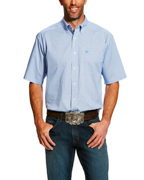 Ariat Men's Edlin Stretch Print Short Sleeve Western Shirt - Big & Tall , White, hi-res