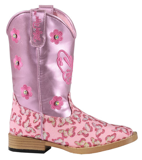 Blazin Roxx Youth Pink Pecos Glitter Cowgirl Boots - Square Toe, Pink, hi-res