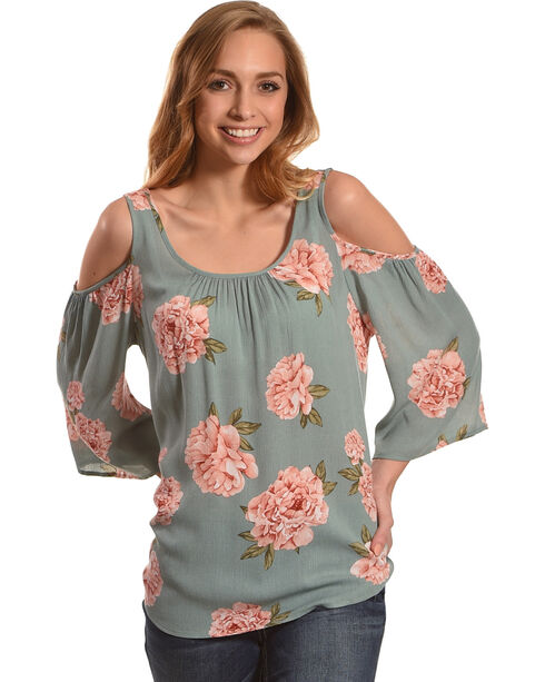 Lunachix Women's Sage Floral Printed Cold Shoulder Top, Sage, hi-res