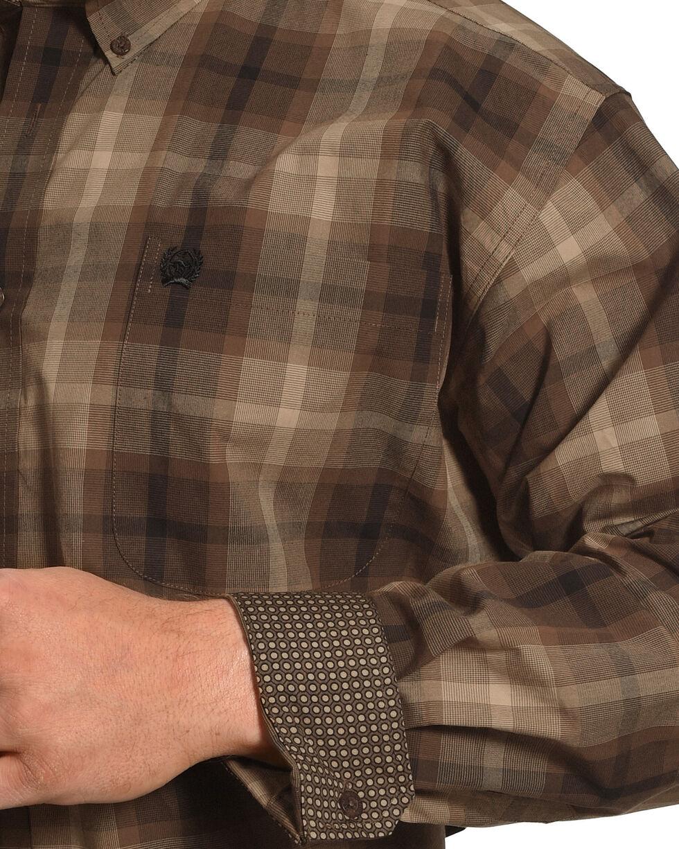 Cinch Men's Brown Plain Weave Plaid Long Sleeve Button Down Shirt, Brown, hi-res