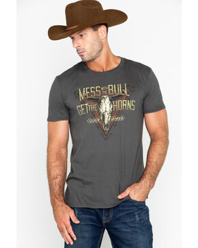 Cody James Men's Cow Horns T-shirt , Grey, hi-res