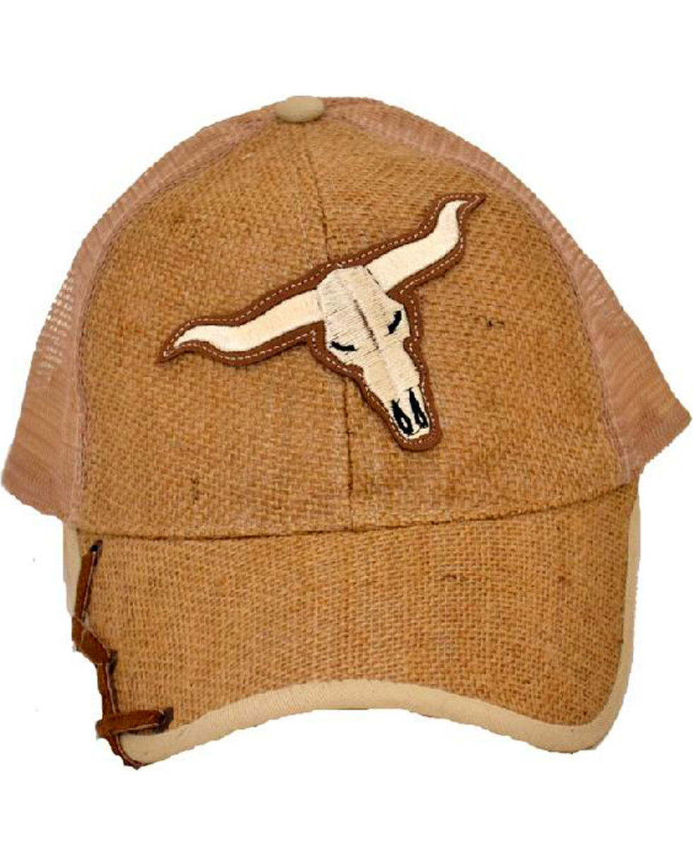 Western Express Men's Light Brown Steer Applique Baseball Cap , Lt Brown, hi-res