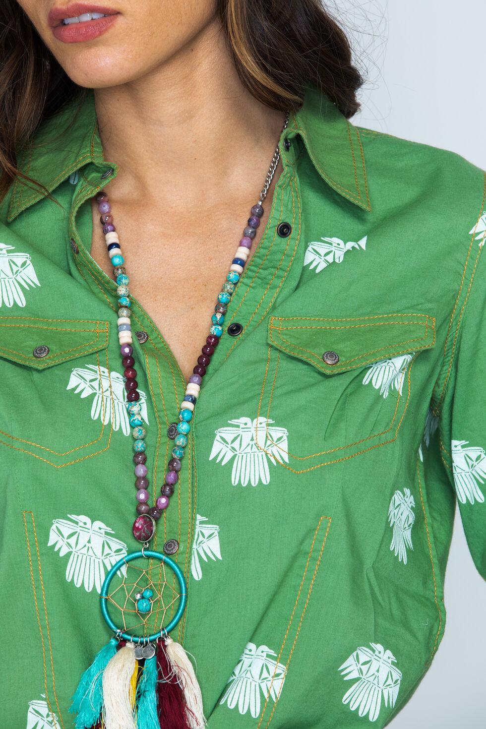 Ryan Michael Women's Fern Bird Print Snap Shirt, Fern, hi-res