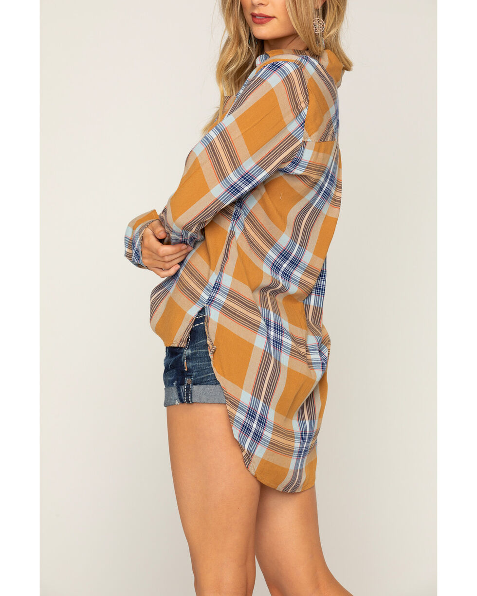 Shyanne Women's Rust Woven Plaid Long Sleeve Shirt, Rust Copper, hi-res